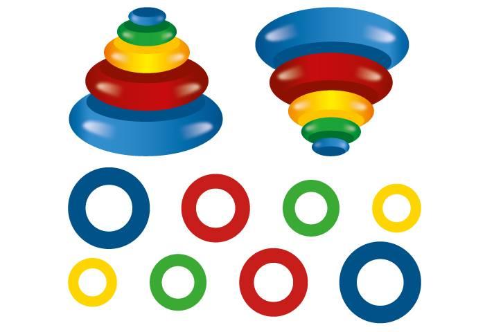 Детская пирамидка из разноцветных колец
