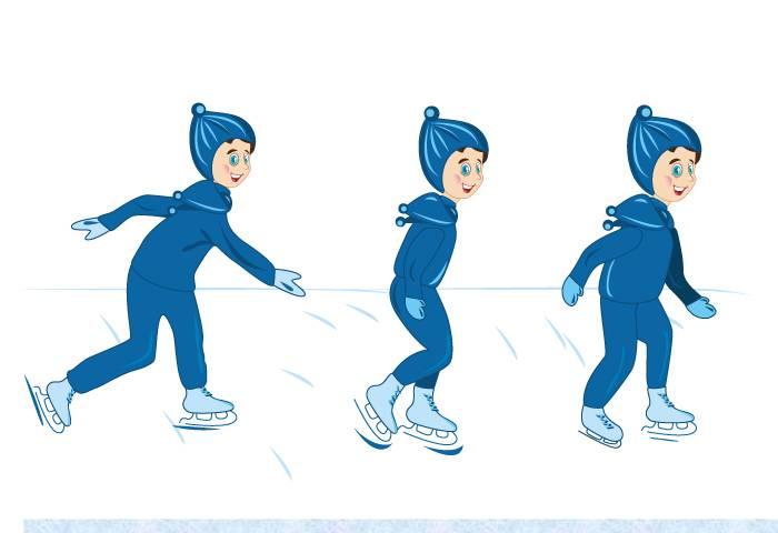 Ребенок учится кататься на коньках