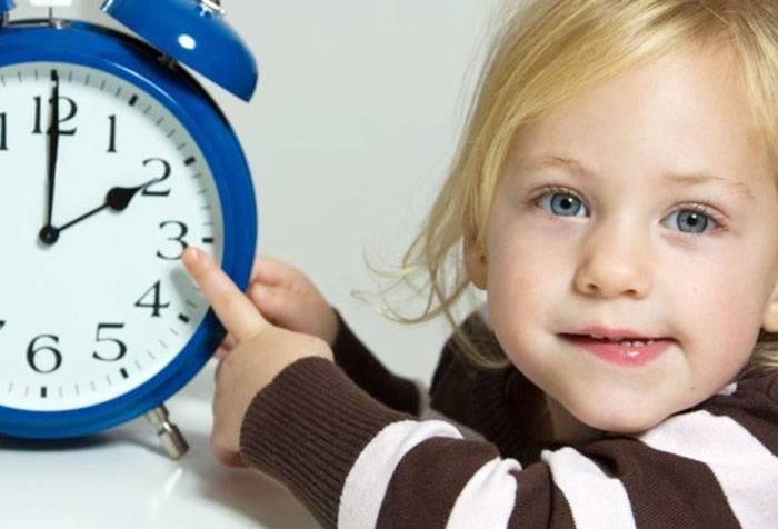 Девочка показывает время на часах