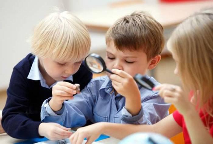 Дети исследуют камешки