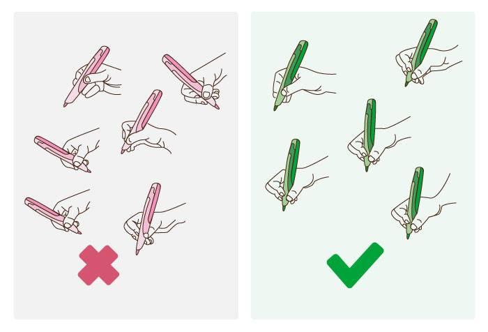 Правильное и не правильное положение ручки и карандаша