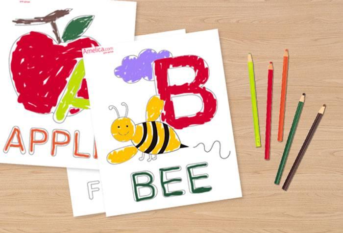 Карточки-раскраски с буквами английского языка