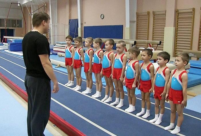 Дети в секции спортивной гимнастики