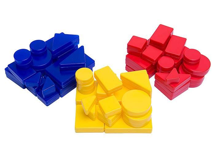 Блоки Дьенеша, сгруппированные по цветам