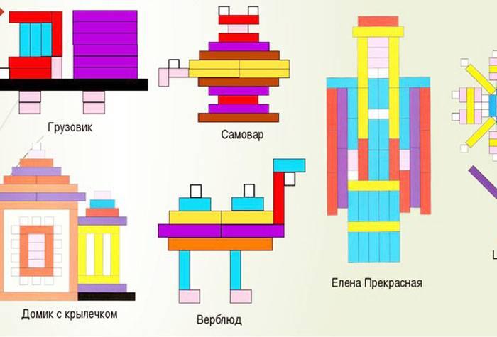 Схемы для занятий с палочками Кюизенера