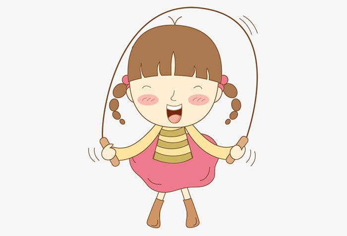 Рисунок - девочка прыгает через скакалку