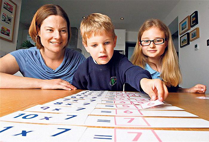 Мальчик учит таблицу умножения
