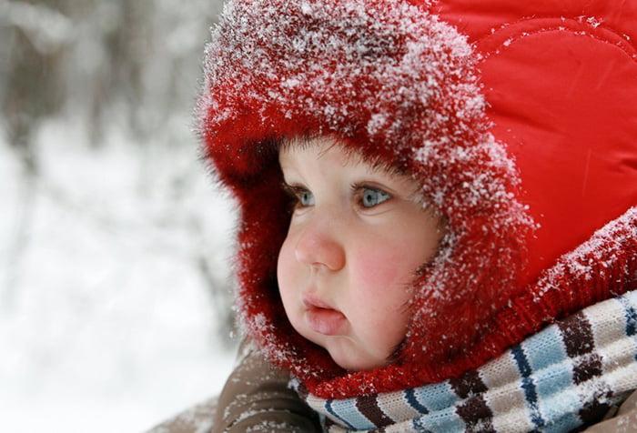 Малыш на зимней прогулке