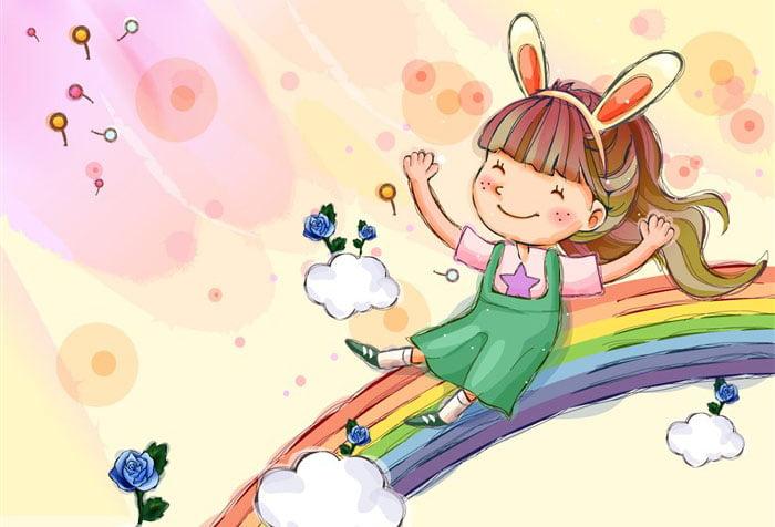 Рисунок - девочка на радуге
