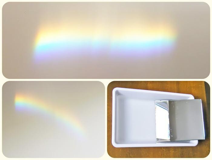 Радуга на стене с помощью воды и зеркала