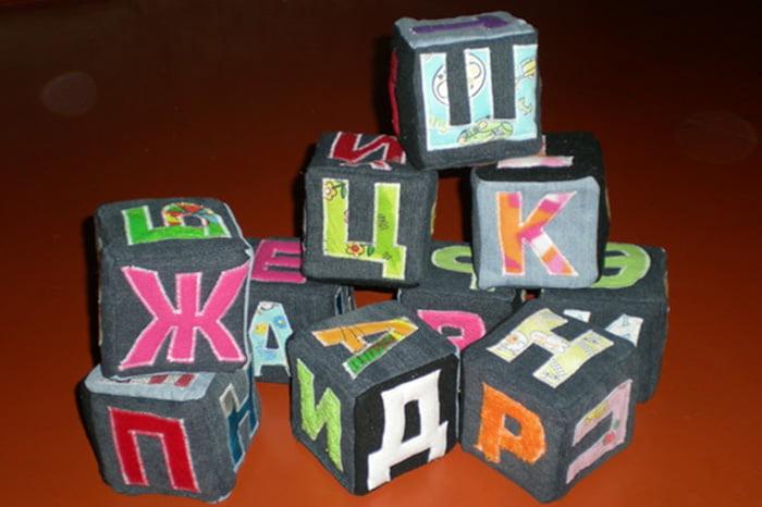 Самодельные кубики с буквами