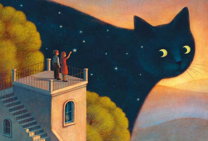 Рисунок - кошка Ночь