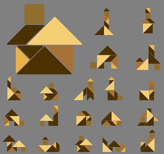 Схемы домиков из деталей танграма