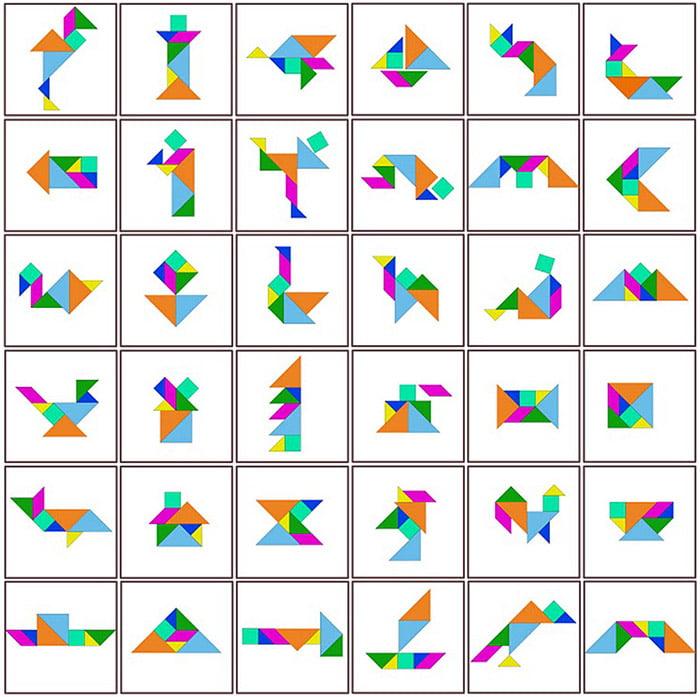 Карточки со схемами для танграма