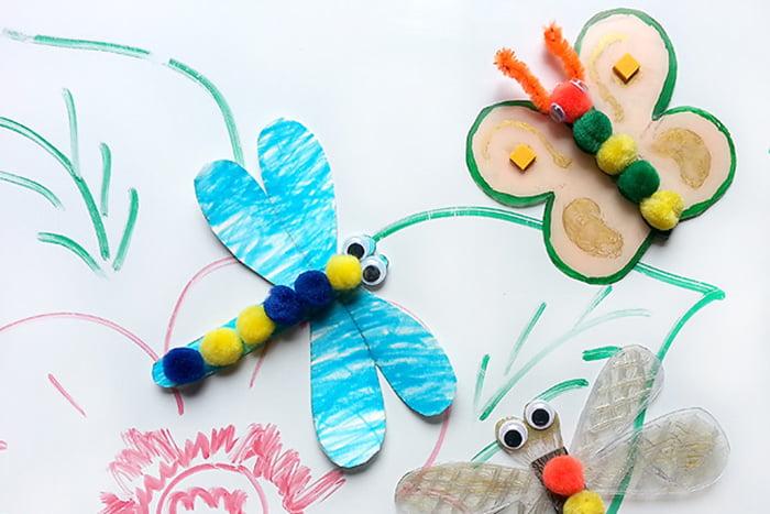 Нарисованные ребенком насекомые
