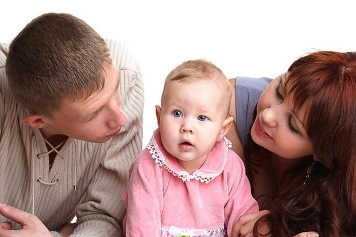 Малышка с мамой и папой