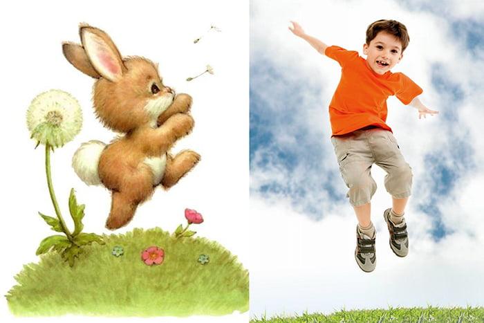 Мальчик прыгает, как зайчик