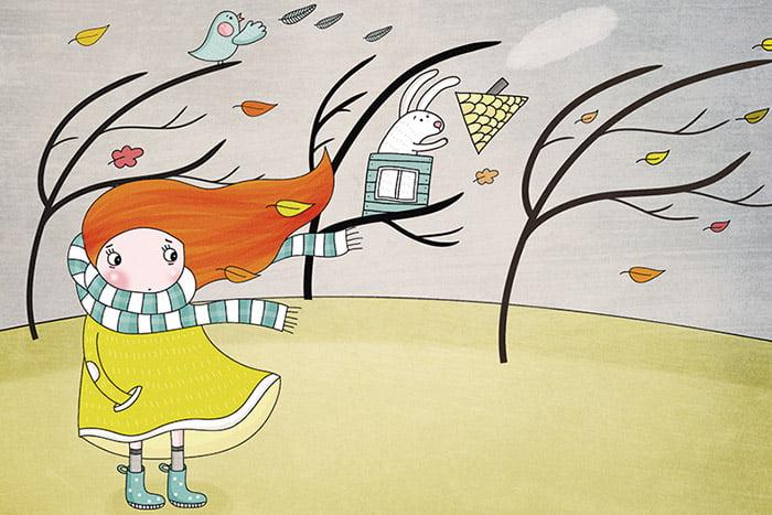 Рисунок - девочка на ветру