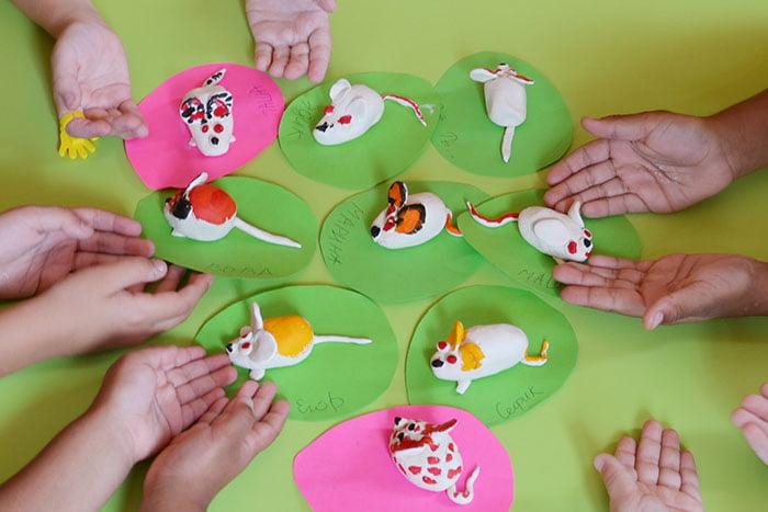 Поделки дошкольников - мышки из пластилина