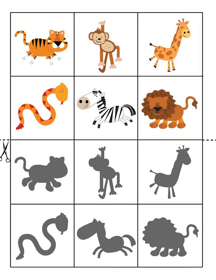 Игра для детей - животные Африки и их тени