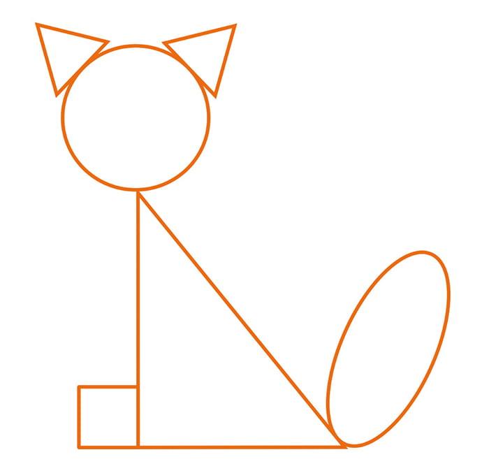 """Трафарет для геометрической аппликации """"Кошка"""""""