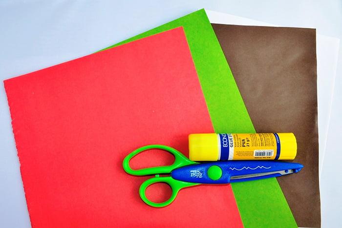 Цветная бумага, ножницы и клей