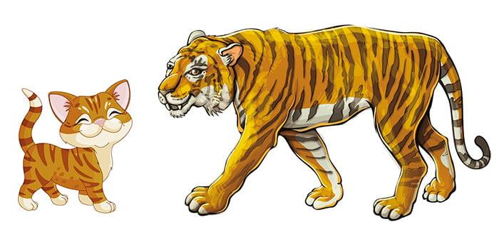 Котенок и тигр