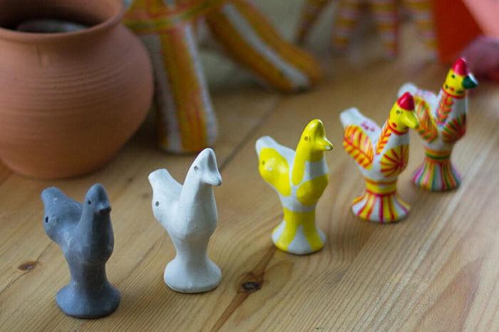 Этапы изготовления филимоновской игрушки - петушка