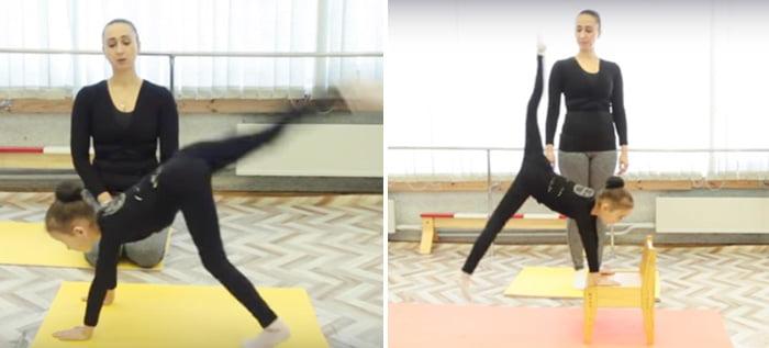 Гимнастическое упражнение на коврике и на стуле