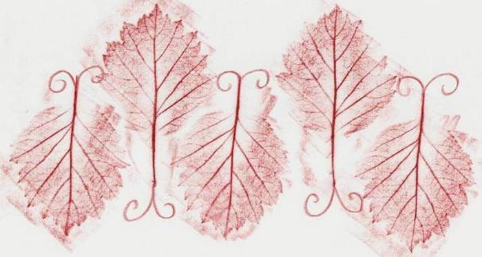 Листья в технике фроттаж