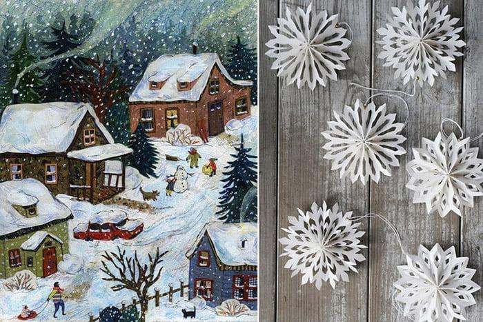 Зимний пейзаж и бумажные снежинки