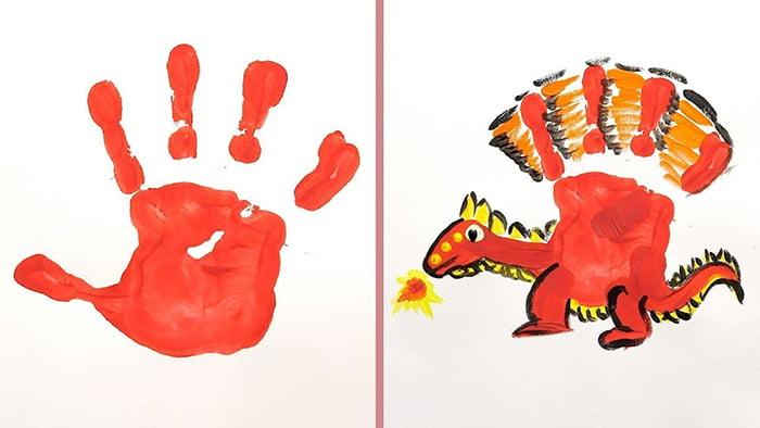 Рисунок динозавра из отпечатка ладони