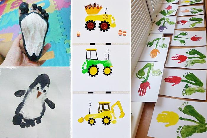 Рисунки из отпечатков детских рук и ног
