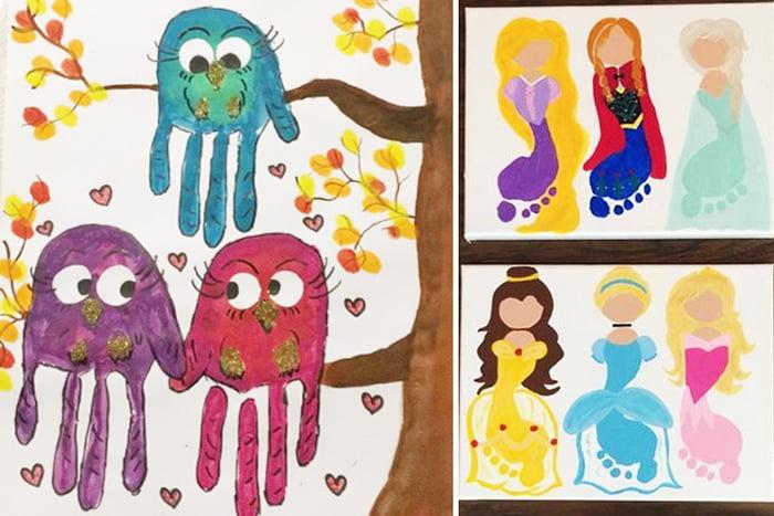 Рисунки по отпечаткам детских рук и ног