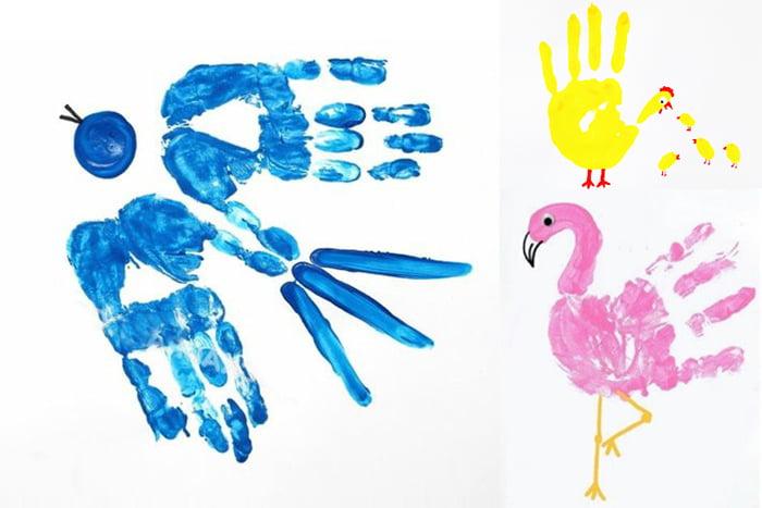Птицы из отпечатков ладоней