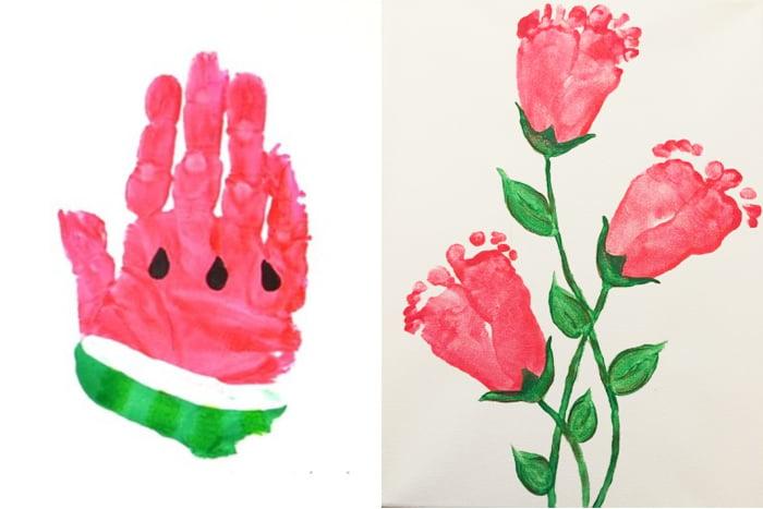 Кусочек арбуза и розы из отпечатков рук и ног