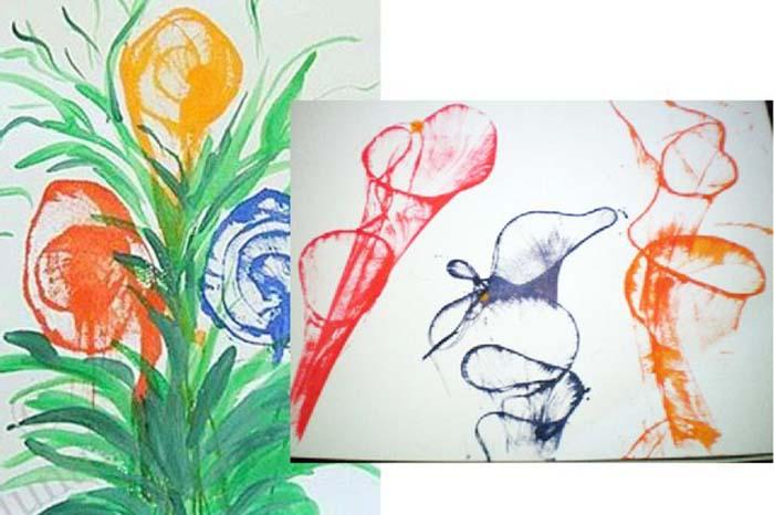 Рисунки, выполненные ниткой с краской