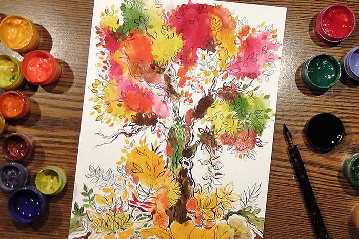 Осеннее дерево в технике монотипия