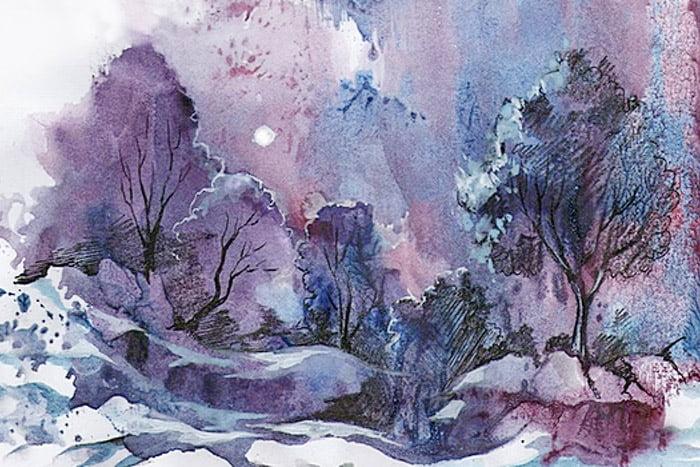 Зимний пейзаж, выполненный в технике монотипия