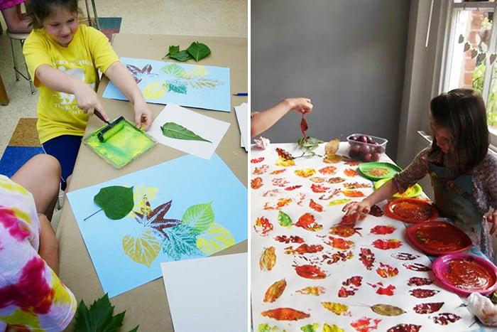 Дети рисуют отпечатками листьев