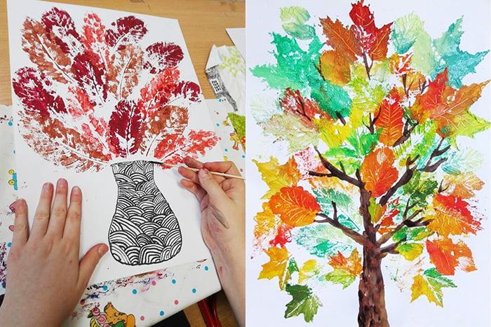 Детские рисунки из отпечатков листьев