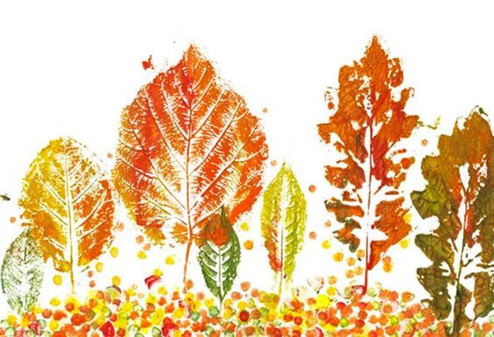 Пейзаж из отпечатков листьев