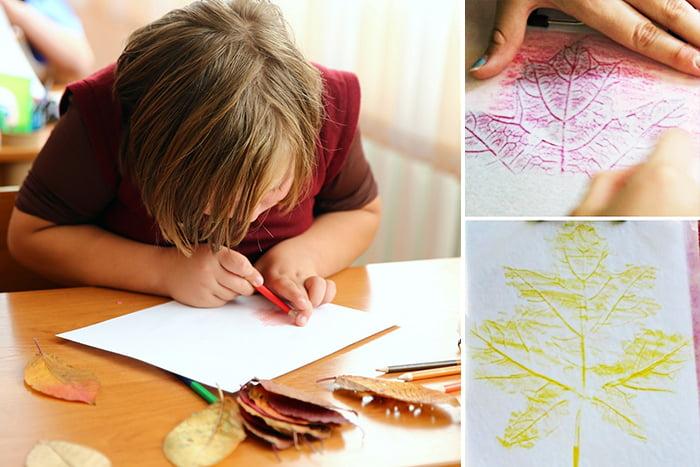 Ребенок рисует листья в технике фроттаж