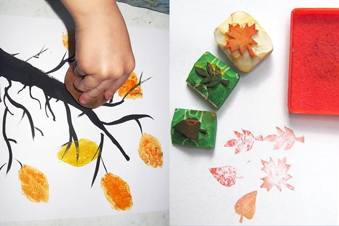 Рисование листьев штампами