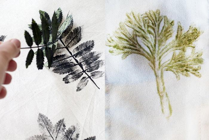 Отпечатки листьев на ткани