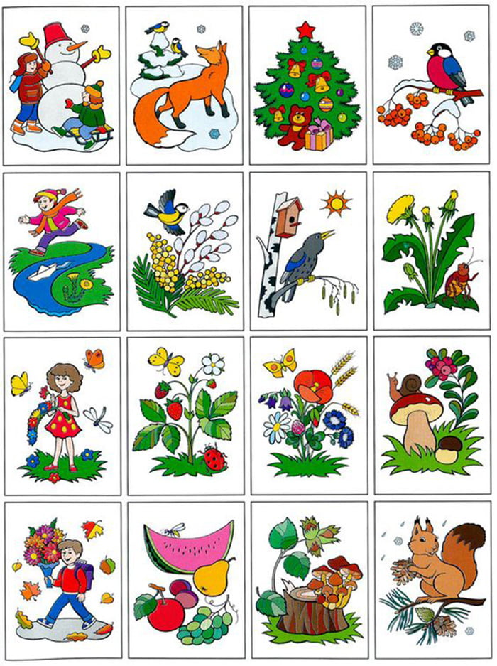 Карточки на тему времен года для детей