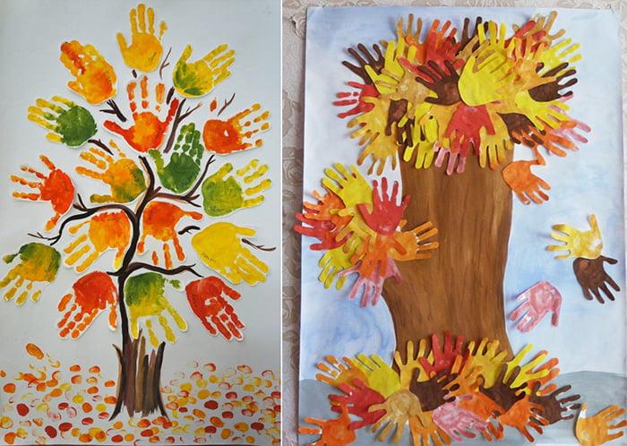 Осеннее дерево с листьями-ладошками