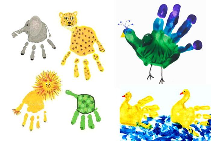 Животные, нарисованные с помощью отпечатков ладоней