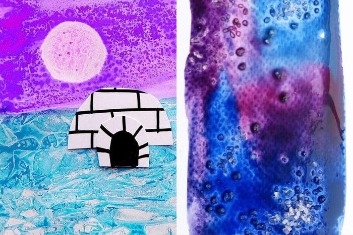 """Рисунки """"Северное сияние"""" в солевой технике"""