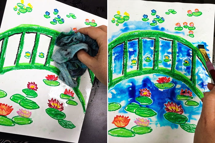 Рисование пейзажа с кувшинками
